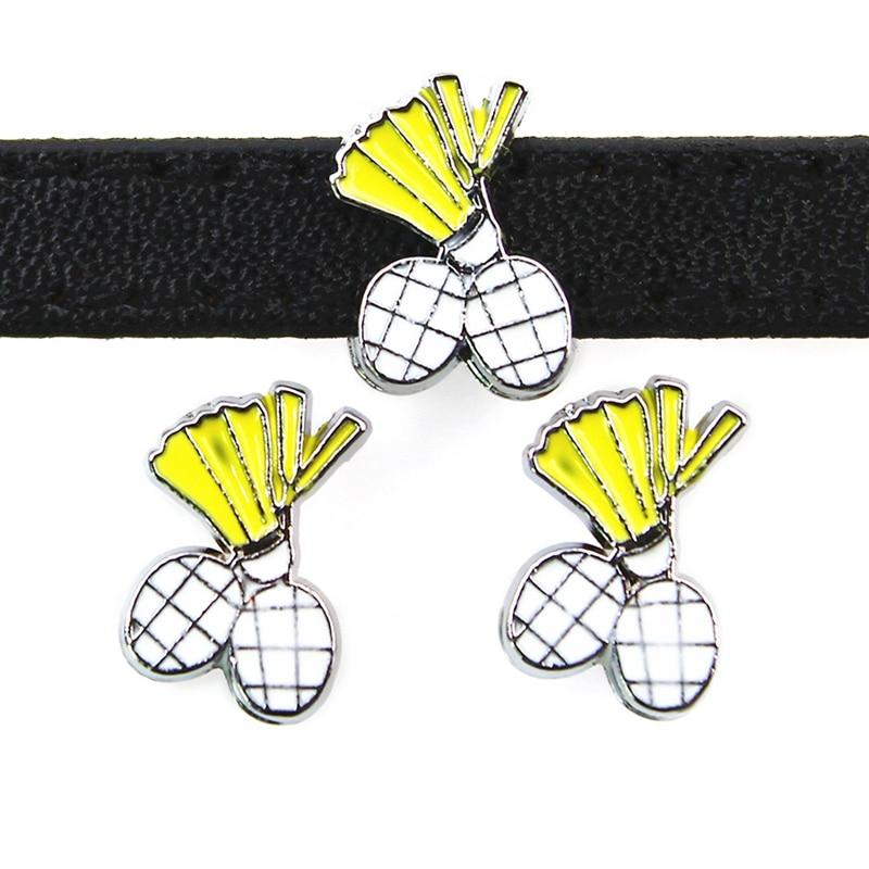 8mm Badminton Sport Rutsche Charme Flache Loch Emaille Perlen Keeper Fit 8mm Edelstahl Mesh Armbänder DIY Schmuck, der