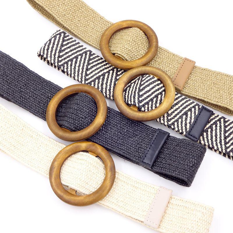 ¡Novedad! cinturón ancho trenzado de Paja para mujer, cinturón cuadrado redondo con hebilla de Madera para mujer, cinturón de vestir para mujer, faja BZ360