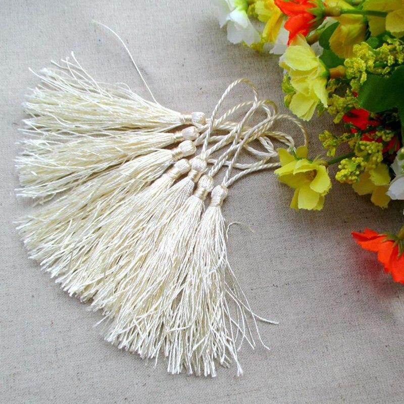 100 unids/lote aproximadamente 12,5 cm color marfil poliéster Charm tassel para decoración del hogar cortina accesorio marcapáginas cortinas 205