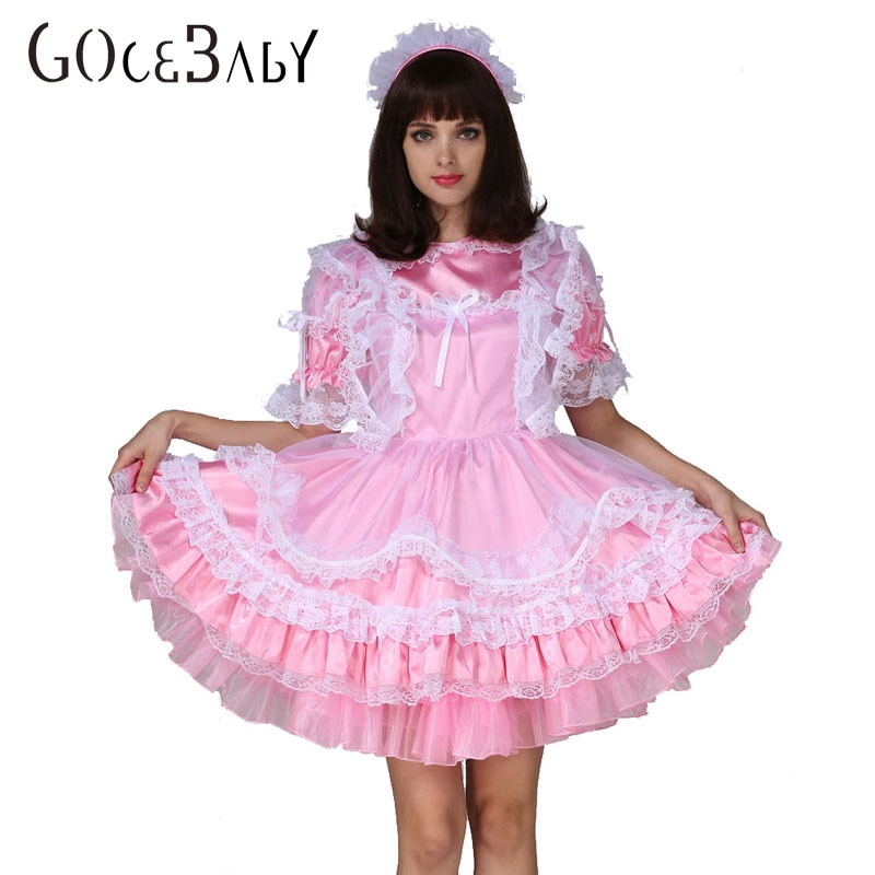 Menino Do Bebê adulto Sissy Maid Satin Bloqueável Vestido Inchado Traje Travestir Traje Cosplay
