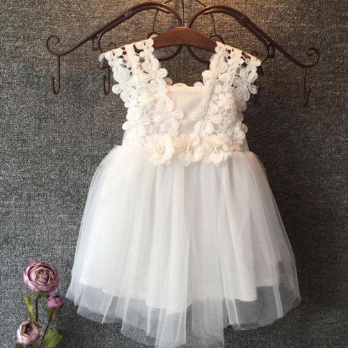 Pudcoco Sommer Kinder Clotnes Sleeveless Elegante Fest Baby Mädchen Prinzessin Kleid Spitze Blume Tüll Tutu Kleid Formale Party Kleid