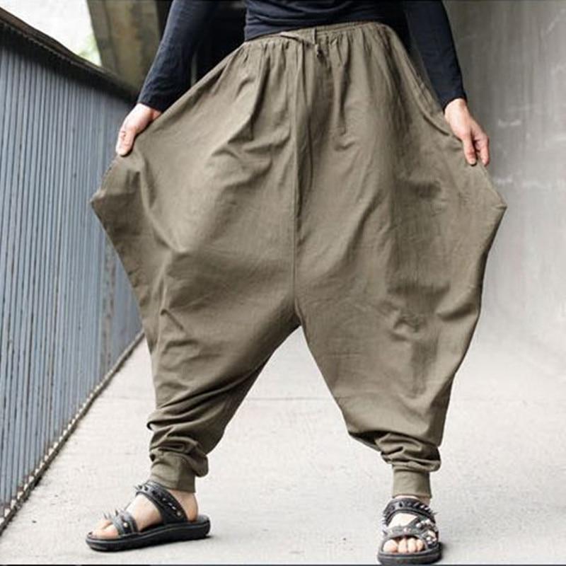 Uomini liberi di trasporto Samurai Giapponese pantaloni Stile Boho Casual Low Cavallo Basso pantaloni Larghi pantaloni di Lino Harem Baggy Pantaloni Hakama 102403