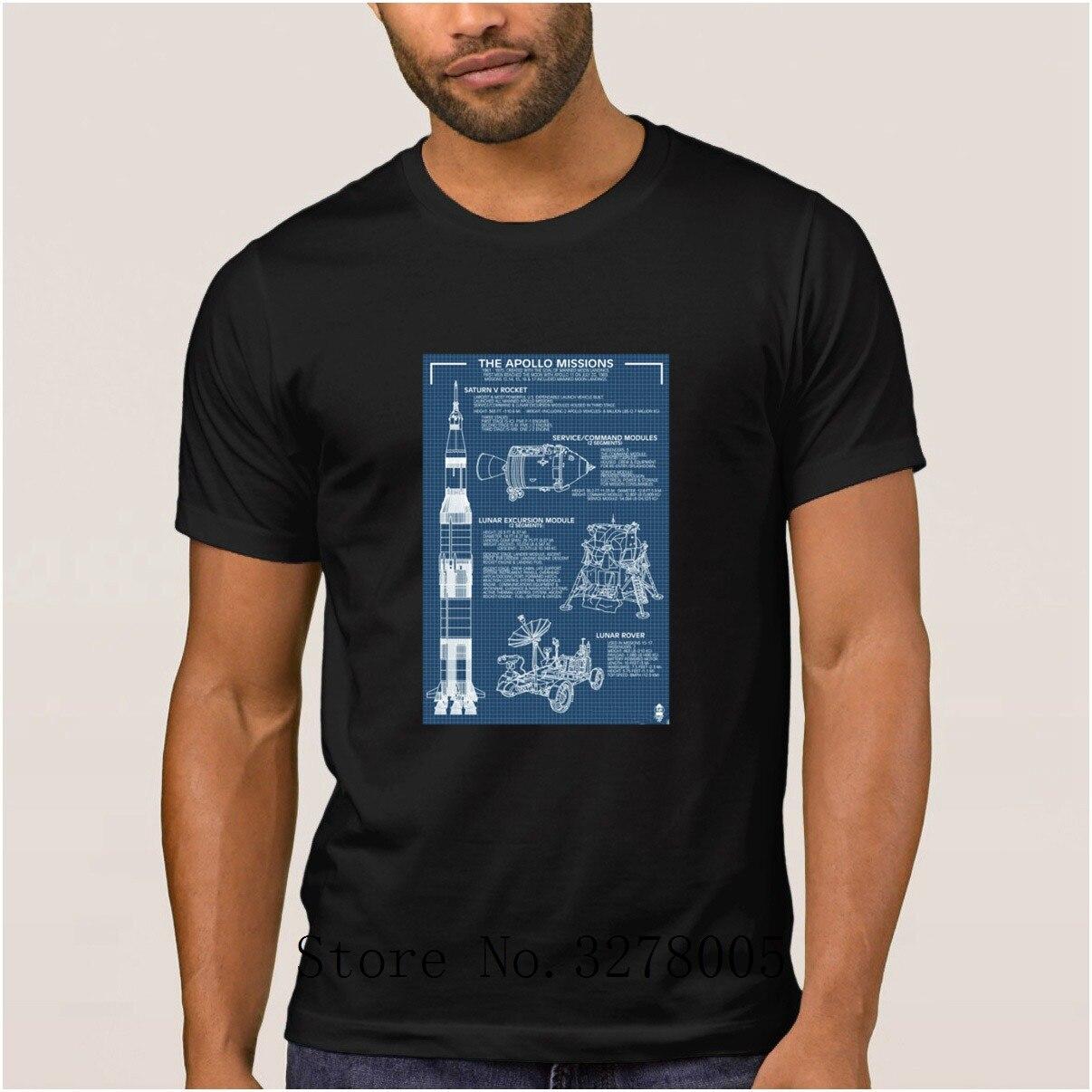 La Maxpa Crazy Apollo Missions Blueprint Poster camiseta Hombres estilo verano hombres camiseta Streetwear algodón camiseta hombre Hip Hop