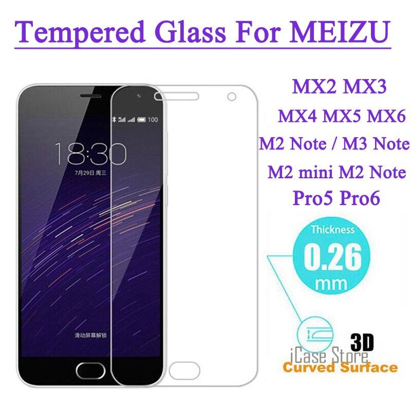 Protector de pantalla de cristal templado para MEIZU M2 nota M1 M2 mini nota Pro 5 MX5 MX4 Pro de Metal a prueba de explosión película