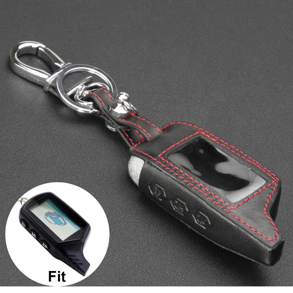jingyuqin New B9 Leather Key Case for Starline B9/B91/B6/B61/A91/A61/V7 C9 KGB FX-5 Jaguar ez-one LCD Way Car Remote 2 Way Alarm