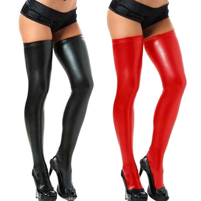 Sexy Women Spandex PU Leather Stockings Shiny Thigh High Tights Socks  XRQ88