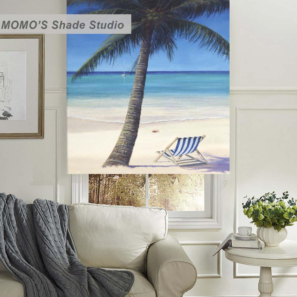 Cortina de rodillo de ventana con pintura MOMO, persianas, tela opaca con aislamiento térmico, tamaño personalizado, set11-12 PRB