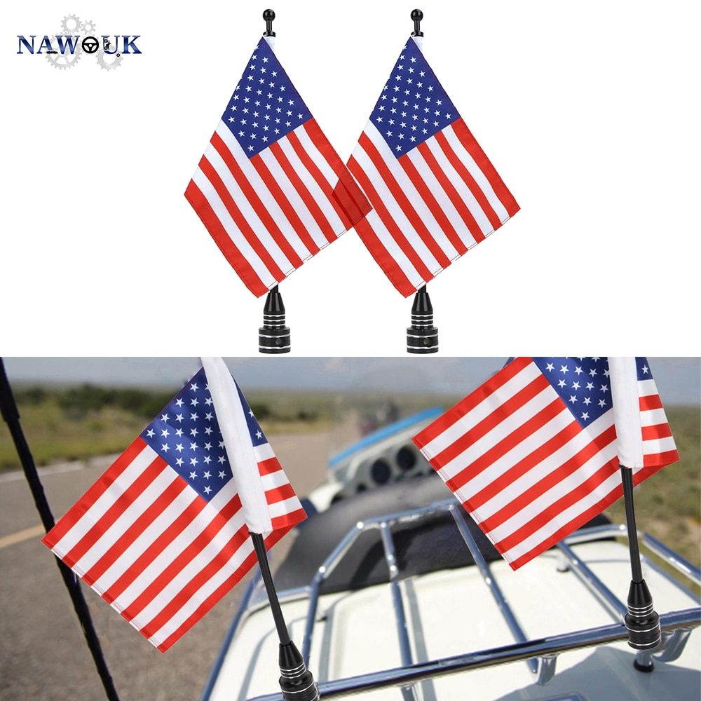 NAWOUK Rear Side Mount Luggage Rack Motorcycle US USA American Flag Pole For Harley Sportster Touring Honda Goldwing CB VTX CBR