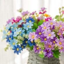 1 set 28 Heads Artificial Bunch Fake Silk Daisy Flower Hydrangea Wedding Party Bouquet Bridal Vine Plant Home Decor Floral