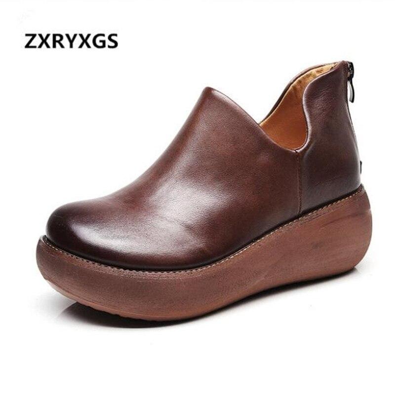 ZXRYXGS zapatos de marca Mujer Zapatos casuales botas de tobillo 2018 nuevas botas de otoño para mujer botas de piel de vaca