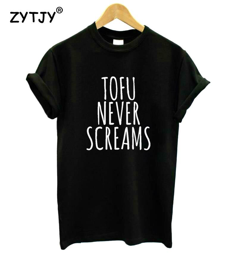 Camiseta Tofu Never Screams para mujer, camiseta divertida de algodón para mujer, camiseta para chica, camiseta Hipster Tumblr, Drop Ship HH-128