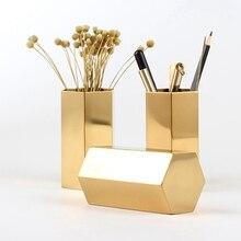 Panier Hexagonal de rangement pour stylo   Vase Simple en or de Style nordique, Tube de rangement en diamant pour brosses de maquillage, décoration de rangement domestique