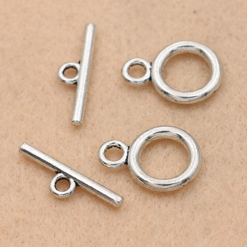 Kjjewel antigo prata chapeado redondo palmas gancho fim contas para fazer jóias corrente pulseira artesanato diy acessórios 5 jogos/lote