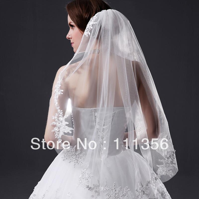 elbow length Bridal veil Lace Applique Edge Ivory wedding accessories veils With comb scallop shape