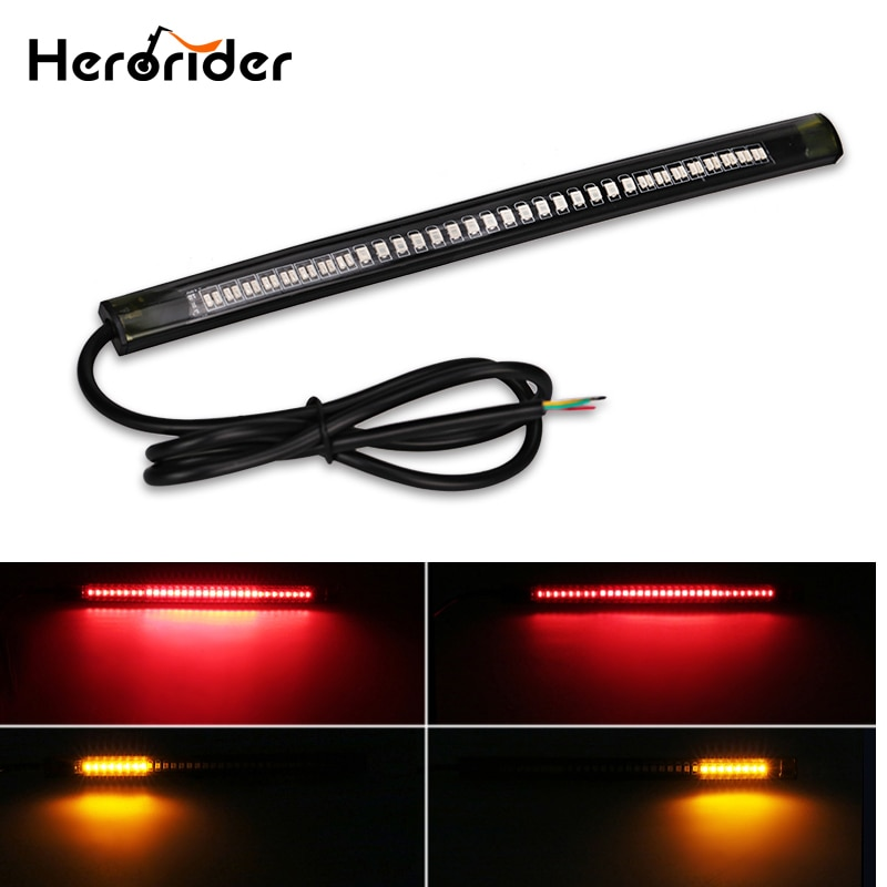 Luz de freno trasera Flexible Herorider, tira Led para motocicleta, señal de giro trasera de freno, tira Flexible para matrícula
