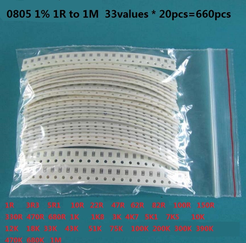 33valuesX 20pcs=660pcs 0603 0805 1206 Resistor Kit Assorted 1R to 1M ohm 1% SMD Sample Kit DIY 3.3R 5.1R 10R 47R 62R 82R 1K 10K