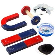 1 conjunto ímã kit para ferramentas de experimento ciência educação barra icluding/anel/ferradura/bússola ímãs