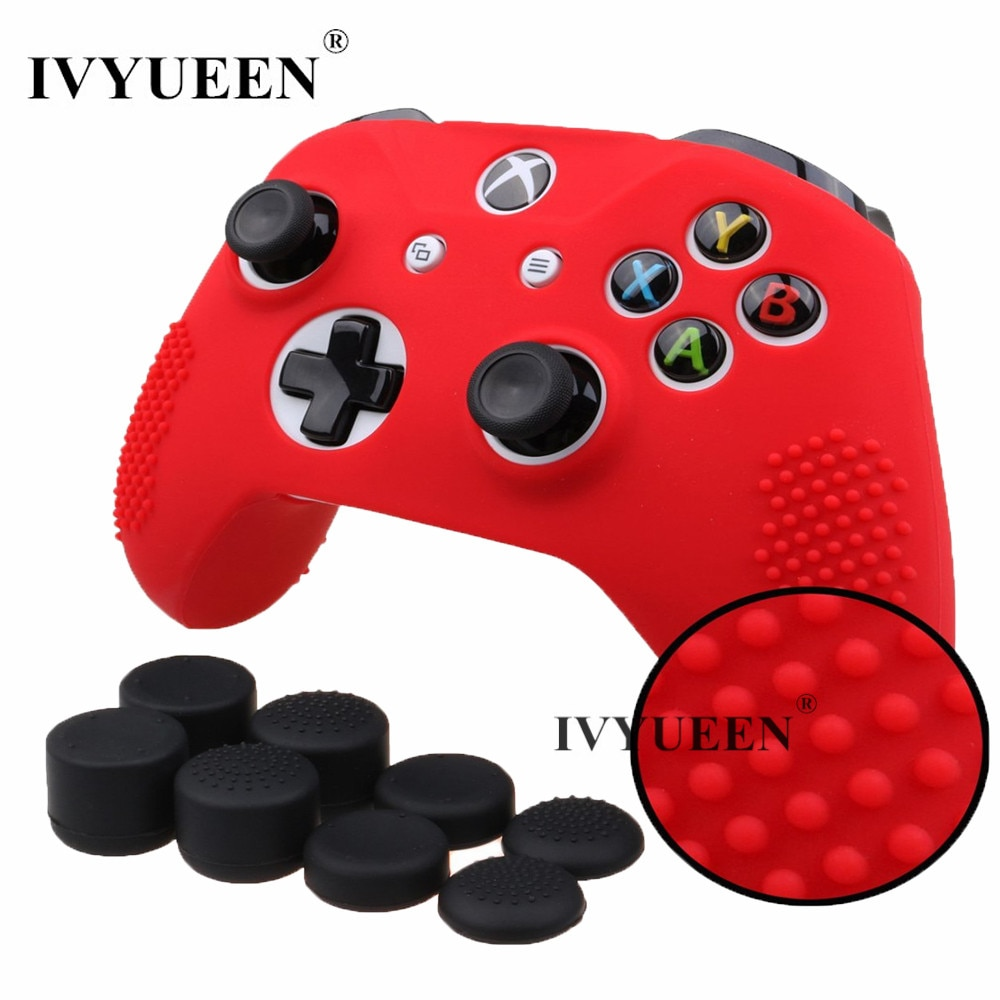 IVYUEEN Anti-slip Case for Xbox One X S Controller Protective Silicone Skin Cover with Extra Height Thumbstick Grips Cap