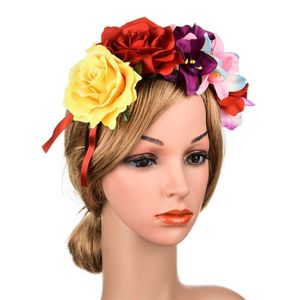 Women Mexican Assorted Colors Rose Flower Crown Headband Party Costume Hair Hoop Bohemian Vacation Adjustable Headpiece