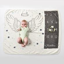 Manta de franela para bebé recién nacido, paño de fondo impreso, alfombra conmemorativa de crecimiento mensual, accesorios de fotografía