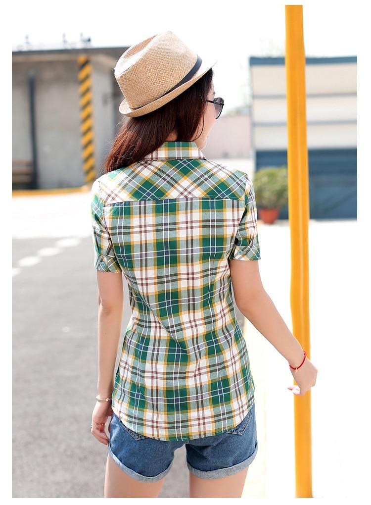 Brand New 2017 Lato Styl Plaid Drukuj Krótki Rękaw Koszule kobiety Plus Rozmiar Bluzki Na Co Dzień 100% Bawełna Topy Blusas 14 kolory 9