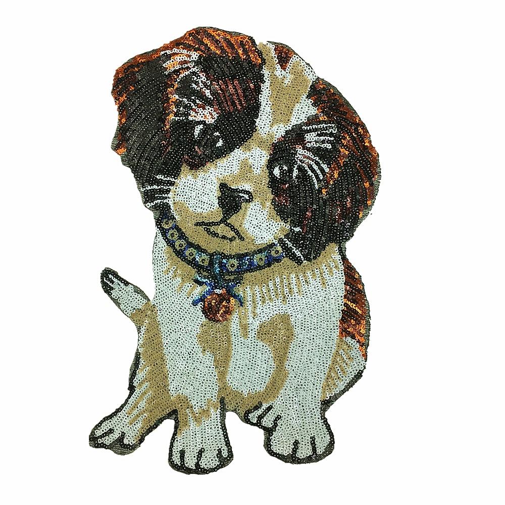 2 piezas cachorro lentejuelas bordado parche perro con cuentas Pooch Applique Animal Patches para abrigo bolsas de mezclilla Appliques Parches perros AC1155