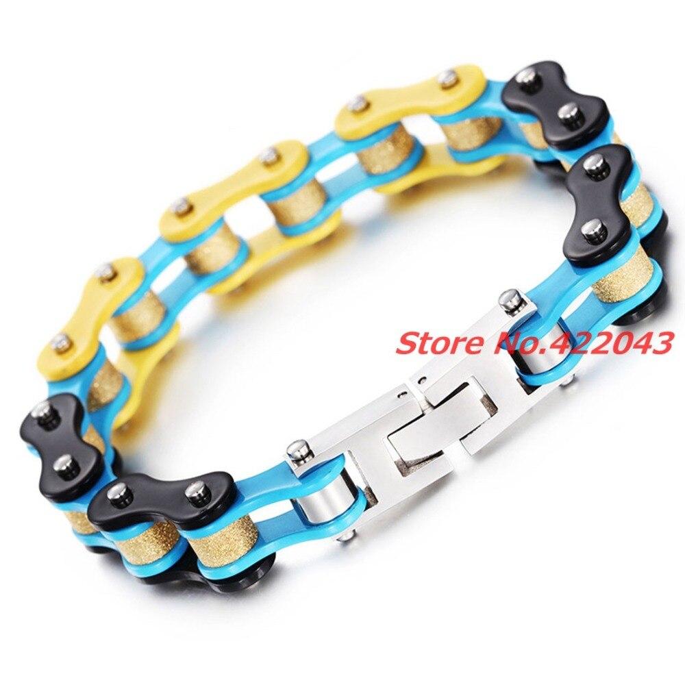 8.26*10mm nova moda das senhoras dos homens amarelo azul preto mix motocicleta bicicleta corrente 316l pulseira de aço inoxidável pulseiras