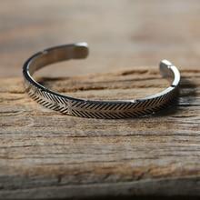 Titanium Stainless Steel Bangle Viking Line Silver Color Cuff Bracelets Men Women Cuff Open Bangle