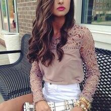 Fashion Women Ladies Long Sleeve Lace Floral patchwork hollow out Crewneck Shirt Tops T-shirt for women plus size M to 2XL