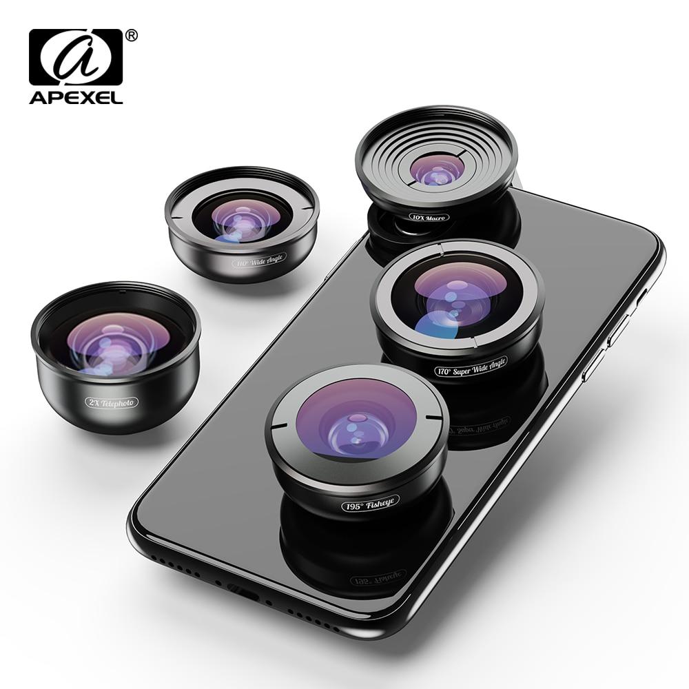 Kit de lentes de teléfono móvil APEXEL 5in1 HD 4K gran Macro súper telescopio de ojo de pez lente de cámara para iPhone XR Samsung s10 todo smartphone