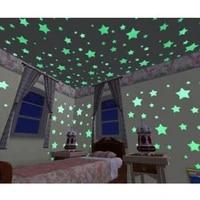 Autocollant mural etoiles solides  magnifique  brille dans la nuit  pour chambre denfant  couloir  plafond  Fluorescent  decoration de la maison  3CM  100  pieces sac