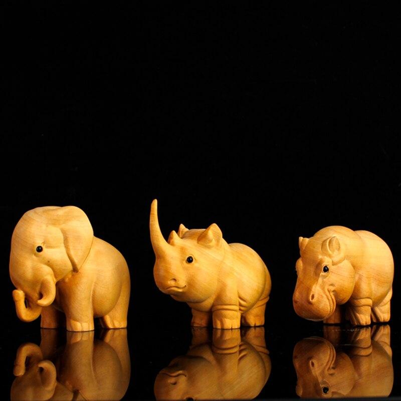 Estatuillas de elefante de madera de rinoceronte africano, regalo de muñeca china, estatuas creativas para Decoración