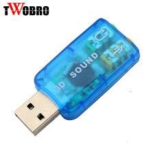 10 teil/los Virtuelle 5,1 USB 2,0 Externe Mic/Lautsprecher Audio soundkarte Adapter für PC Laptop, Blau, schwarz