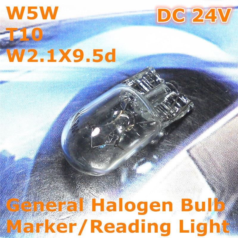 Bombilla halógena General para coche de 24V W5W T10 W2.1X9.5d para ancho marcador de licencia, luz de lectura superior