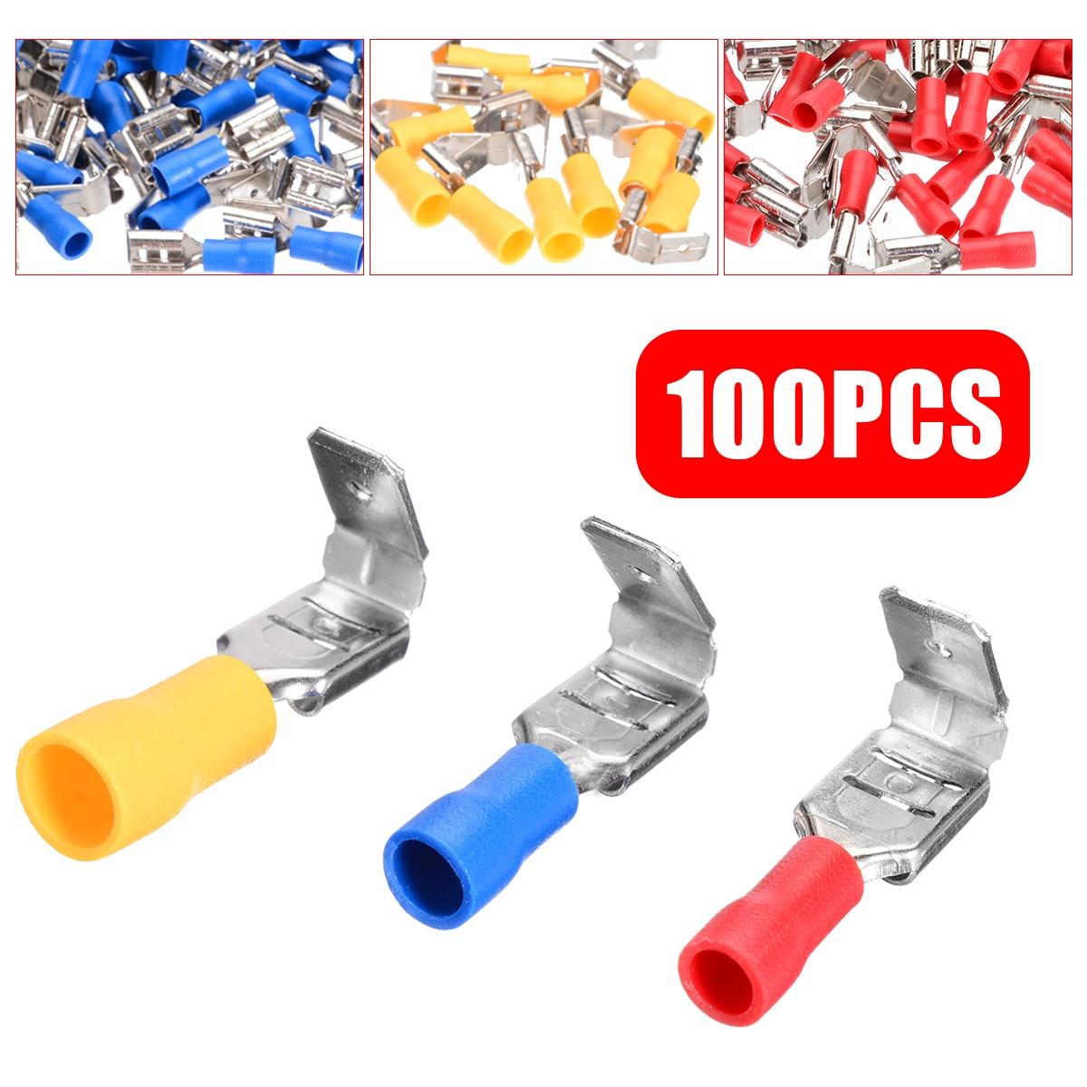100pcs PVC Isolamento Spade Sobreposto Crimp Terminal Macho Fêmea 10-22AWG Conectores Isolados Sortidas Kit