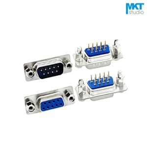 50Pcs Male/Female Blue Straight DB9 D-sub PCB Mount RS232 Serial Port Connector Socket With Screw Nuts