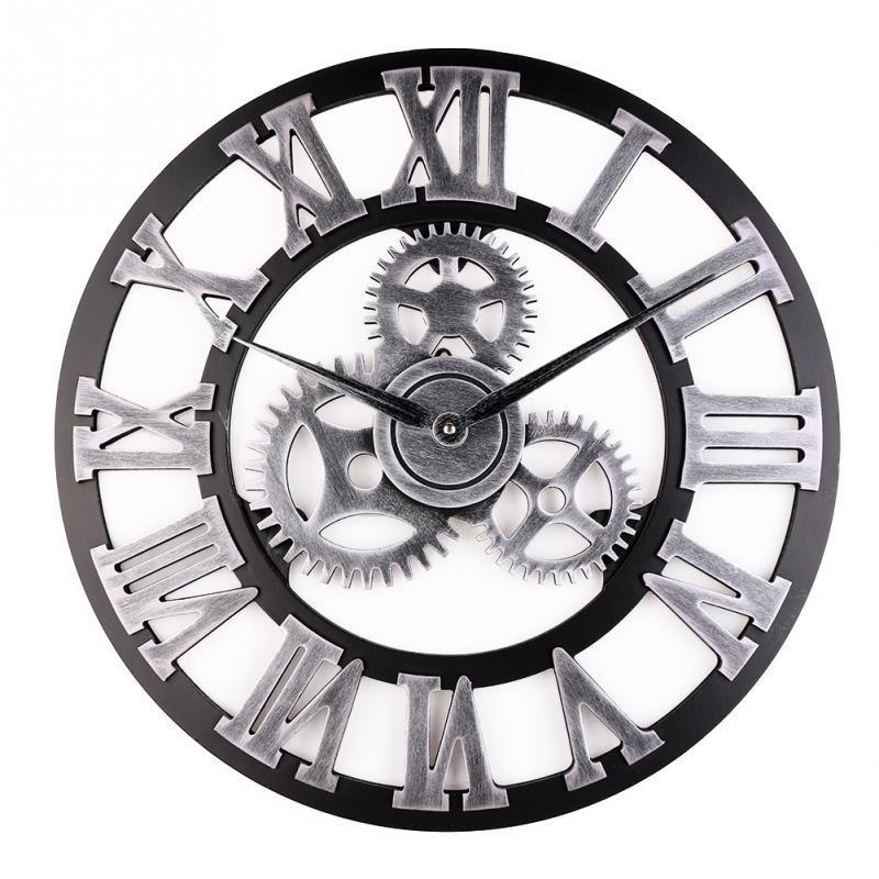 3D Retro biegów zegar ścienny Wandklo tanie zegary ścienne zegarek w starym stylu Reloj de Pared duże Decoracion Antique Klok Home Decor zegarki