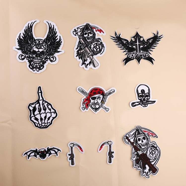Barato, serie Punisher, ropa, insignia punk, pegatinas de tela de viento, Calavera DIY, bordado, puntada, reparación, chaqueta, abrigo, decoración
