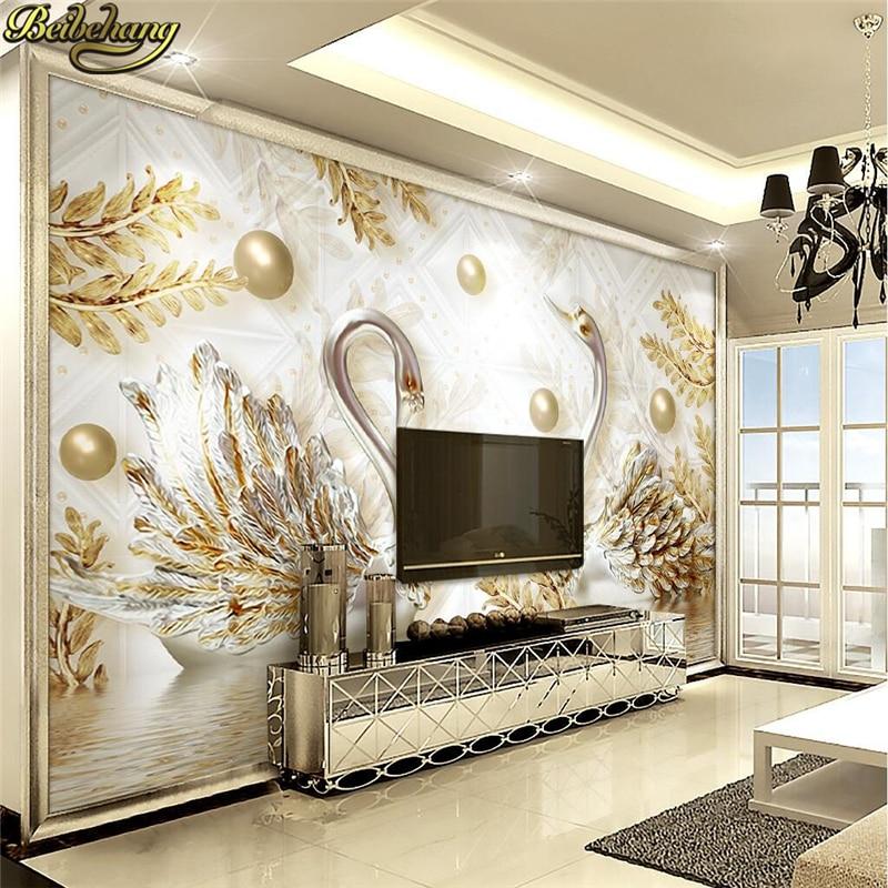 Papel De pared personalizado beibehang 3D De lujo europeo Cisne joyería flor Papel De pared sala De estar TV telón De fondo foto Mural Papel De pared