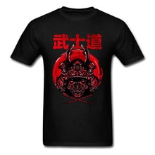 Tee Iron Samurai Mens Cool Tshirt 일본 전사 부시도 블레이드 T 셔츠 100% 통기성 코튼 탑스 T 셔츠 여름 의류