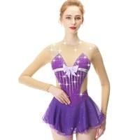 purple long sleeve crystal diamond bow figure skating sress skating skirt lady and girl