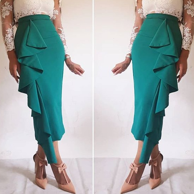 Falda de mujer ceñida con volantes de oficina Ropa de Trabajo elegante y modesta con clase para mujer verde verano Ajuste de cintura alta Jupes Faldas Saias