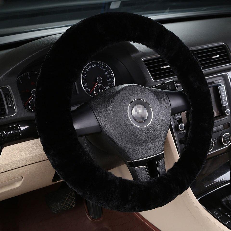100% piel de oveja natural lana elástico invierno protector para volante de coche 36 38 40cm negro accesorios interiores AutoStyling