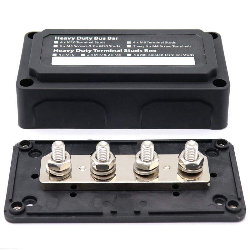 Caliente CC 48V 300A 4 terminales bloque de distribución de energía para coche barco (negro)