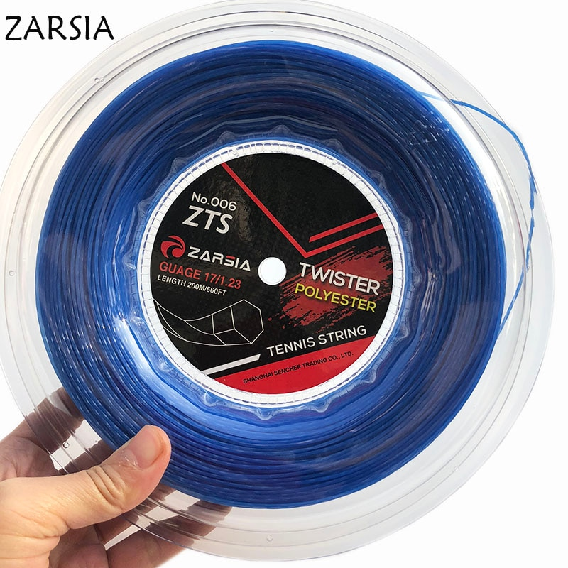 1 Reel  Blue Genuine NEW ZARSIA Black Twist tennis String string,made in taiwan,Hexaspin twister polyester strings