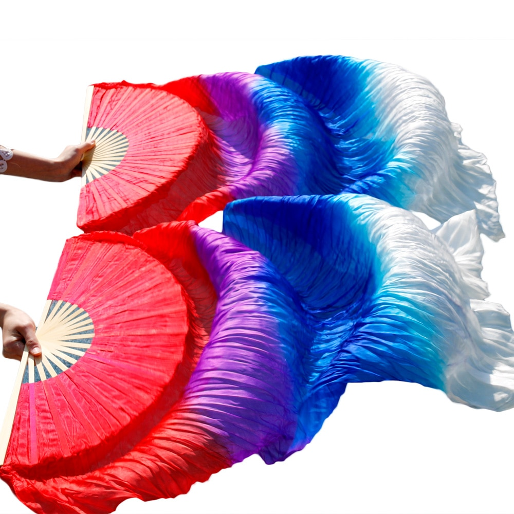 High selling 100% Real Silk Veils 1 Pair handmade women Quality Silk Belly Dance Fan Dance red+purple+royal blue+white недорого