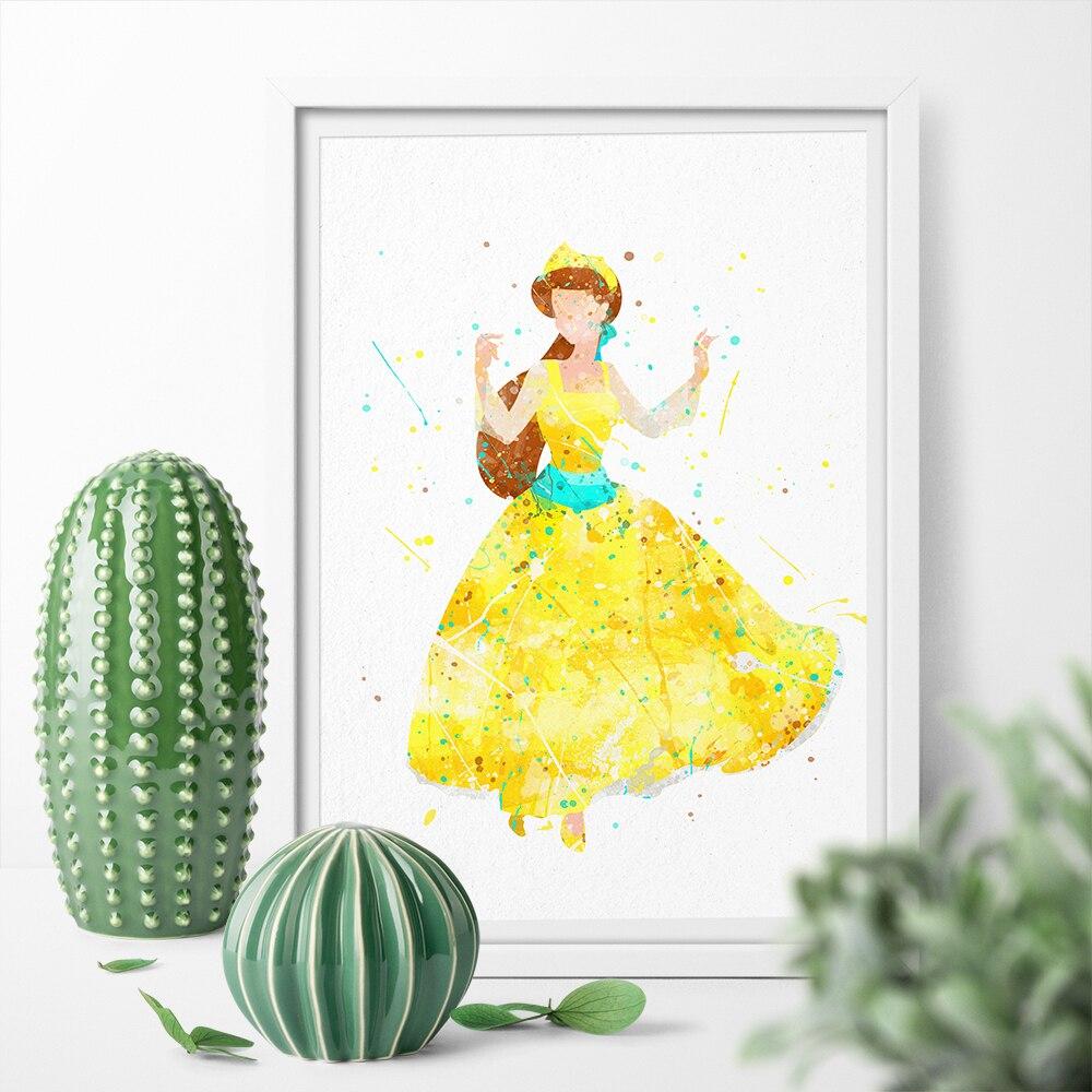 Desenhos Animados da aguarela Anastasia Princesa Bonito Menina Cartaz da Lona Da Cópia Da Arte Da Parede Da Lona de Arte Pintura Decoração de Casa Adesivo