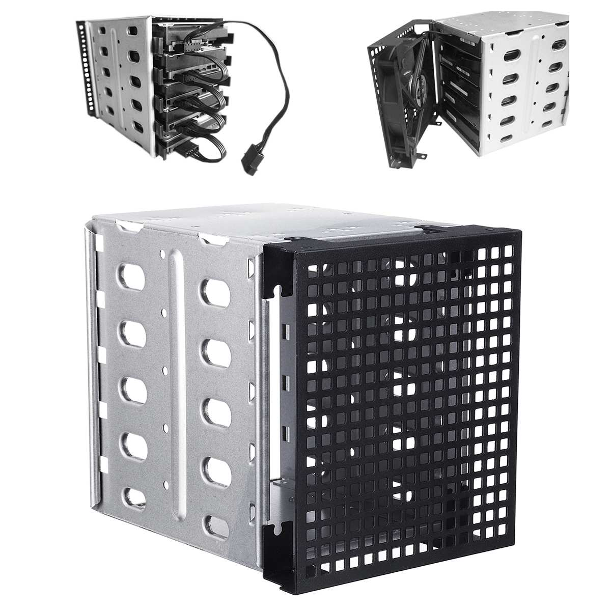 "5,25 ""a 5x3,5"" SATA SAS jaula de unidad de disco duro Rack Disco Duro bandeja Caddy Adaptador convertidor con ventilador ranuras de espacio"