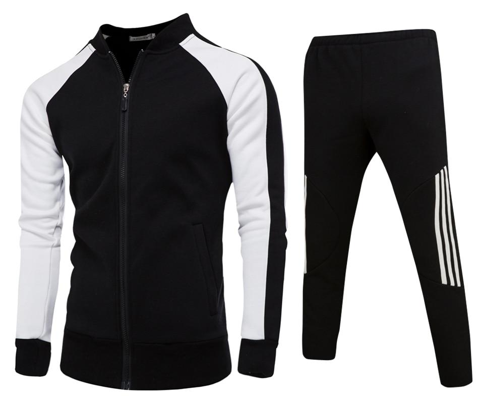 ملابس رياضية للرجال السمين ، ملابس رياضية غير رسمية للرجال ، طقم من قطعتين ، جاكيت وسروال ، قبعة سوداء/بيضاء ، قبعة بيسبول