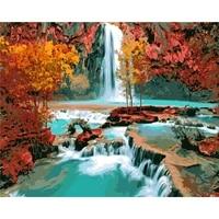 Peinture Par Numeros BRICOLAGE Livraison Directe 50x65 60x75cm Cascade dans la vallee Decor Fait Main Cadeau Pour Adulte Unique Cadeau Deco Maison